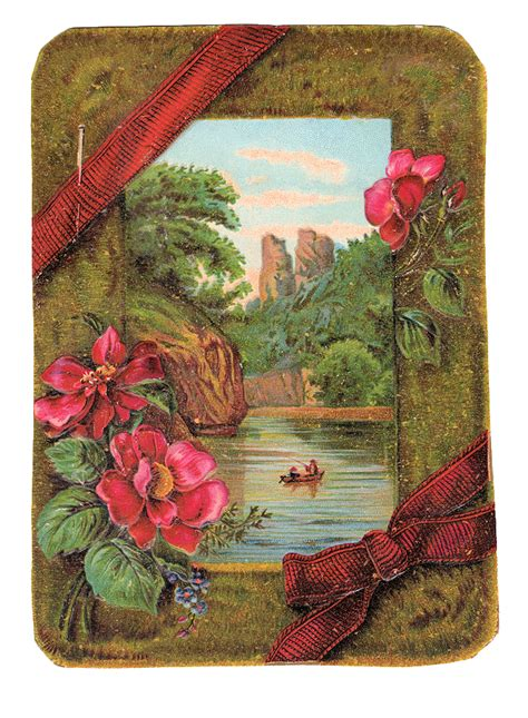 Free Vintage Clip Art - Victorian Card with Moss and
